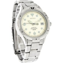 Seiko Kinetic Mens Date Dial Stainless Steel Bracelet Dress Watch SKH475
