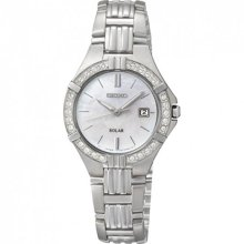 Seiko Ladies Solar Stainless Steel Case and Bracelet Mother of Pearl Dial Crystals SUT087