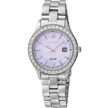 Seiko Ladies Solar Stainless Steel Case and Bracelet Mother of Pearl Dial Swarovski Crystals SUT073