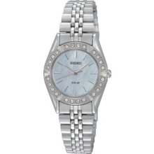 Seiko Ladies Stainless Steel Solar Quartz Mother of Pearl Dial Swarovski Crystals SUP093