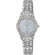 Seiko Ladies Stainless Steel Solar Quartz Mother of Pearl Dial Swarovski Crystals SUP125
