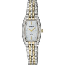 Seiko Ladies Two Tone Stainless Steel Case Solar Quartz Mother of Pearl Dial Swarovski Crystals SUP152