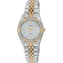 Seiko Ladies Two Tone Stainless Steel Solar Quartz Mother of Pearl Dial Swarovski Crystals SUP094