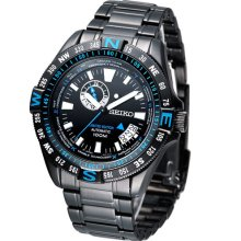 Seiko Limited Edition Black PVD Watch with Compass Function and 24-Hour Sub-dial #SSA115