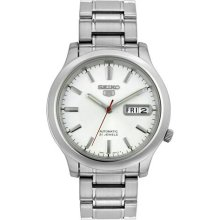 Seiko Men's 5 Automatic SNK789K Silver Stainless-Steel Automatic Watch with White Dial