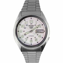 Seiko Men's 5 Automatic SNX801K Silver Stainless-Steel Automatic Watch with White Dial