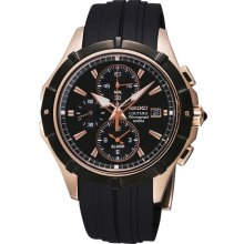 Seiko Mens Coutura Chronograph Stainless Watch - Black Rubber Strap - Black Dial - SNAF14