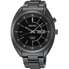 Seiko Men's Kinetic Black Tone Stainless Steel Case and Bracelet Black Tone Dial Day and Date SMY133