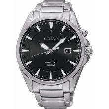 Seiko Men's Kinetic Stainless Steel Case and Bracelet Black Tone Dial Date Display SKA565