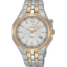 Seiko Mens Kinetic Stainless Watch - Two-tone Bracelet - White Dial - SKA516