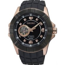 Seiko Men's Rose Gold Tone Stainless Steel Case Rubber Strap Automatic Black Dial SSA078