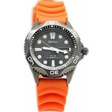 Seiko Mens Solar Alarm Analog Stainless Watch - Orange Rubber Strap - Black Dial - SNE245