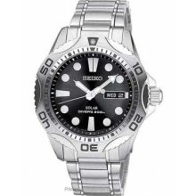 Seiko Mens Solar Dive Watch Stainless Steel Black Dial Date SNE107