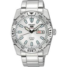 Seiko Men's Stainless Steel Seiko 5 Sports Automatic White Dial Day Date SRP163
