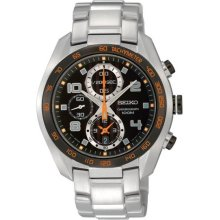Seiko Men's Stainless Steel Case and Bracelet Chronograph Quartz Black Dial Date Display SNDD37