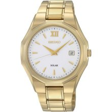 Seiko Men's Watch Gold Tone Stainless Steel Solar White Dial Bracelet Sne158