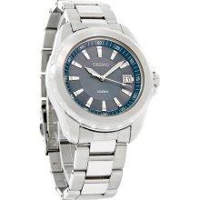 Seiko Quartz Mens 100M Blue Dial Stainless Steel Dress Bracelet Watch SGEE71