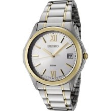 Seiko Sgef22 Men's Watch Two Tone Stainless Steel Dress Silver Tone Dial