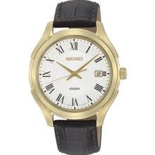 Seiko Sgef72 Men's Watch Gold Tone White Dial Quartz Brown Leather Strap