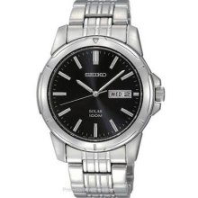 Seiko Solar Mens Stainless Steel Day/Date Watch - Black Dial - 100m SNE093