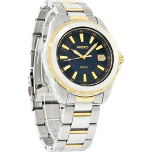 Seiko Sport Mens Date Blue Dial Two Tone Stainless Steel Quartz Watch SGEE72