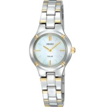 Seiko Watch, Womens Solar Two Tone Stainless Steel Bracelet 28mm SUP06
