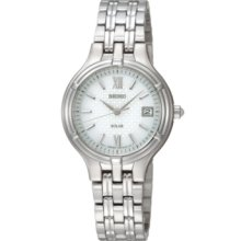 Seiko Watch, Womens Solar Stainless Steel Bracelet 28mm SUT015