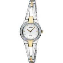 Seiko Watch, Womens Solar Two Tone Stainless Steel Bracelet 22mm SUP05