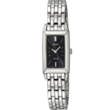 Seiko Watch, Womens Solar Stainless Steel Bracelet 15mm SUP043