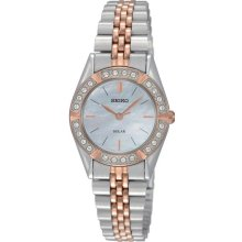 Seiko Womens Solar Crystal Stainless Watch - Two-tone Bracelet - Pearl Dial - SUP112