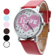Shaped Women's Heart PU Analog Quartz Wrist Watch (Assorted Colors)