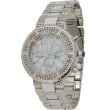 Silver & White Mother of Pearl Watch w/ Chronograph & Diamond Look - Silver - Sterling Silver - 3