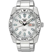 Stainless Steel Seiko 5 Sports Automatic White Dial Day Date