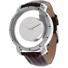Steinhausen Mens Stainless Steel Floating Quartz Silver Dial Watch with Lizard Grain Leather Band (Silver/Brown)