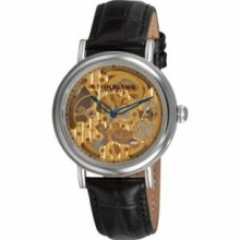 Stuhrling Original 294.111531 Gold Tone Case with Gold Tone Movementandamp;#44; Blue Skeletonized Handsandamp;#44; and Black Alligator Embossed Genuine Leather Strap