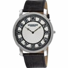 Stuhrling Original 904.33152 Mens Classic Hyperion Slim Swiss Quartz with Stainless Steel Case Silver Dial and Black Leather Strap Watch