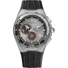 TechnoMarine Cruise Steel Evolution Chrono 45mm Watch - Grey/Orange Dial, Black Silicon Strap 112006 Chronograph Sale Authentic