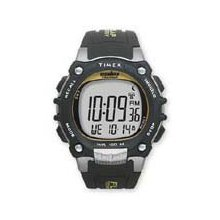 timex ironman traditional 100-lap w/flix system - black/silver/yellow