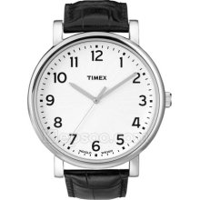Timex Mens Originals Classic White Indiglo Dial Black Leather Strap Watch T2n382