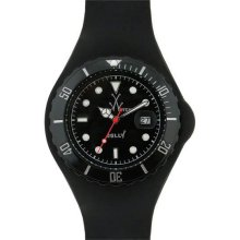 Unisex Jelly Black Plastic Resin Case Black Dial Silicone Strap Date Display Qua