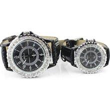 Unisex Leather Band Analog Wrist Quartz Watch With Diamond(Black)