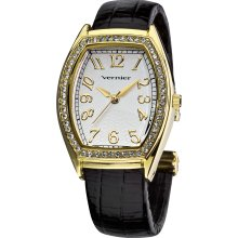 Vernier Ladies Gold Tone Genuine Crystal Stone Bezel Lizard Embossed Bangle Watch (Gold-tone)
