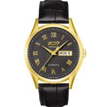 Visodate Men's Automatic Watch - Gold Case With Black Leather Strap