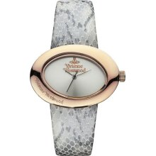 Vivienne Westwood Ellipse Ii Women's Quartz Watch With Silver Dial Analogue Display And Grey Leather Strap Vv014slgy