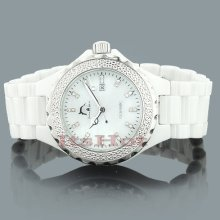 White Ceramic Watches Techno Master Ladies Diamond Watch 0.12ct