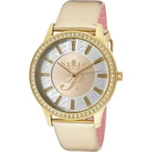 Women's White Crystal Champagne/Silver Dial Metallic Gold Genuine ...
