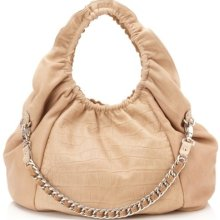 - 1,035.00 Be & D Beige Cosette Croc Embossed Leather Large Hobo Bag