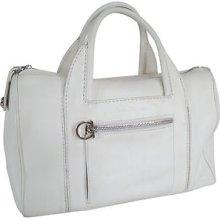 100% Authentic Pre-owned Salvatore Ferragamo White Leather Tote Speedy Handbag