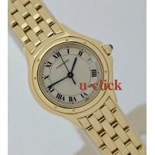 18k Yg Yellow Gold Ladies 26mm Cartier Panthere Cougare / Cougar Quartz Watch