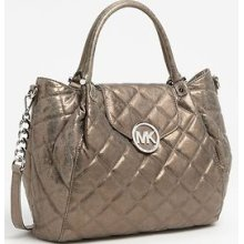 $428 Michael Michael Kors Fulton Quilted Large Tote Handbag Bag Nickel